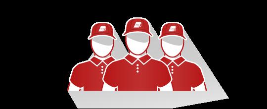 Equipe d'archivistes en uniforme et casquettes rouge